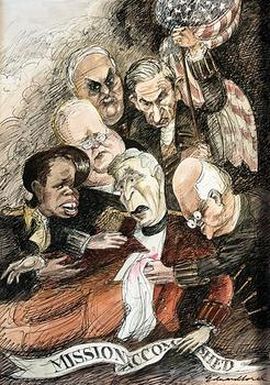 In this <em>Vanity Fair</em> illustration from 2007, Sorel riffs on George W. Bush's 'Mission Accomplished' speech from 2003.
