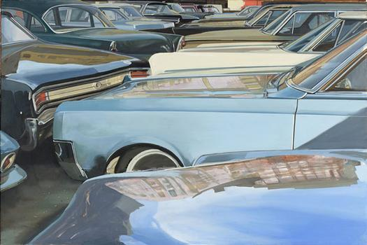 "Richard Estes' ""NYC Parking Lot"" was made in 1969. It's oil on masonite."