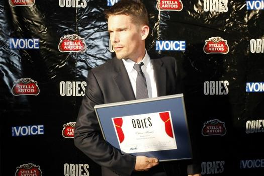 "Ethan Hawke poses with his Obie award for playing the blue-collar star of ""Blood From a Stone"" at the New Group Theater."