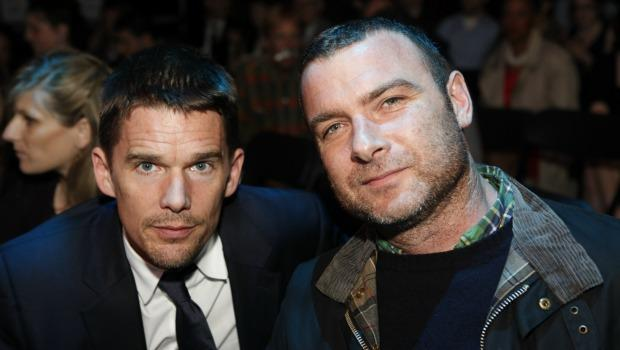 "Ethan Hawke, who took home an award for his performance in ""Blood From a Stone"" and  Liev Schreiber who starred in ""A View From the Bridge"" in the audience at the 2011 Obie Awards."