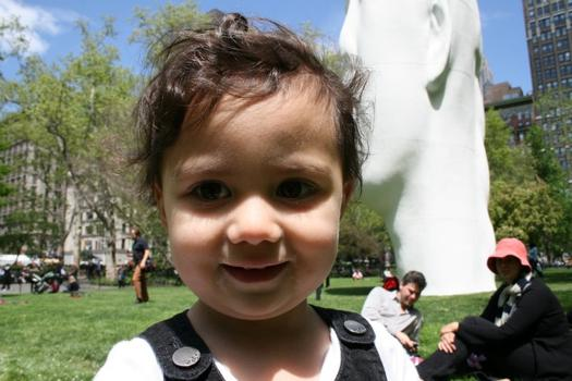 Toddler Eva Dawson enjoyed her time at the statue with her parents.