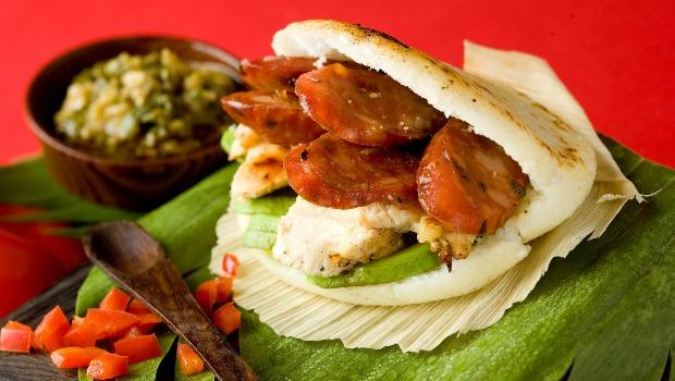 An Arepa La Surena (chicken, chorizo, avocado with chimi-churri sauce) from Caracas Arepa Bar on 106th St.