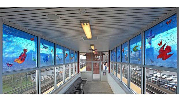 'Blue Sky Pursuit' (2009) by Carson Fox, Seaford Station, MTA Long Island Rail Road.