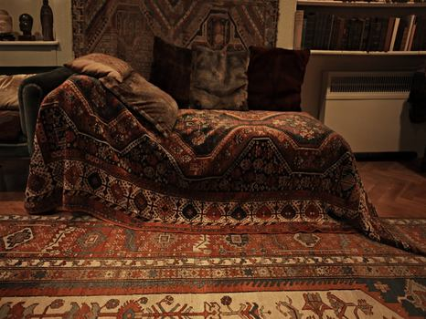 Sigmund Freud's couch in his study at 20 Maresfield Gardens in London