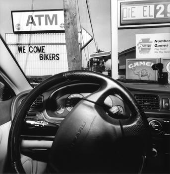 Long Strange Trip: Friedlander uses the car's windshield as a frame to display the country's sublime, absurd and banal landscapes. Above, 'Montana,' a picture from 2008.