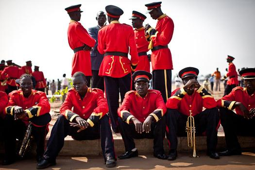 This work, 'South Sudan Marching Band,' is by Andrew Burton.