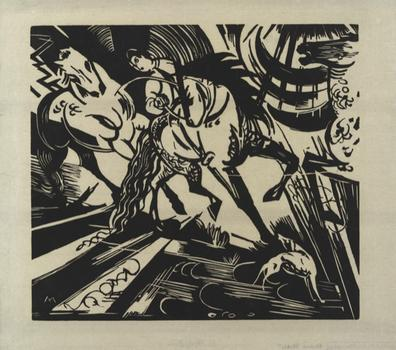 'Riding School After Ridinger,' by Franz Marc. An unpublished woodcut from 1913. Contemporary comic book art clearly owes a lot to the drama of German Expressionism.