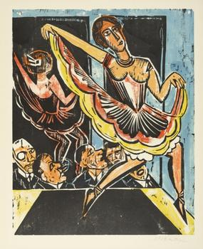 Max Pechstein's 'Dancer in the Mirror,' a postwar woodcut print that dates to 1923.