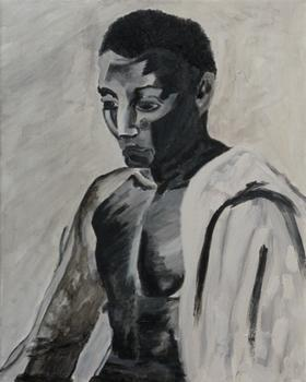 Dodge Gallery's latest show is dedicated to contemporary artists exploring the use of the human figure -- such as Gina Beavers' 'The Boxer,' a canvas from 2011.