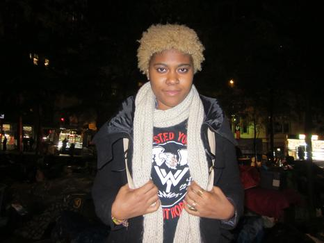 """Gina Weldon, 19, of Brooklyn, says she came to support a cause and that her education costs, """"just to better myself,"""" are unfairly high."""
