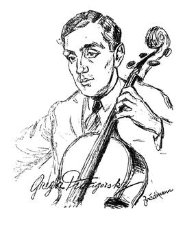 A Friedman drawing of Gregor Piatigorsky, a principal cellist for the Berlin Philharmonic.