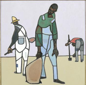 """Three Share-Croppers"" by Richard Gwathmey is also in the academy's collection. It was painted in 1974."