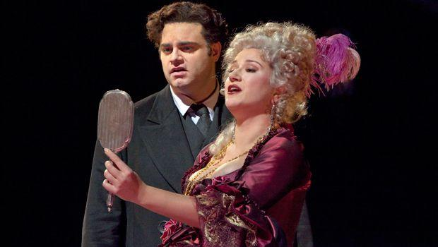 "Joseph Calleja as Hoffmann and Ekaterina Gubanova as Giulietta in Offenbach's ""Les Contes d'Hoffmann."" Taken during the rehearsal on November 27, 2009 at the Met."
