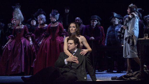 "Joseph Calleja as Hoffmann and Kate Lindsey as the Muse in Offenbach's ""Les Contes d'Hoffmann."""