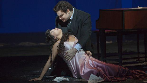 "Anna Netrebko as Antonia and Joseph Calleja as Hoffmann in Offenbach's ""Les Contes d'Hoffmann."""