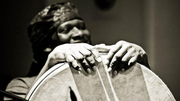 Hamid Drake performed at Roulette in SoHo on February 26.