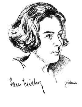 A Friedman drawing of Hansi Freudberg (Joanna Graudan), who played piano in the Berlin Philharmonic.