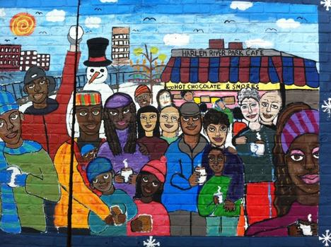 The group Creative Arts Workshops for Kids unveiled this mural in Harlem River Park on August 19, 2011.