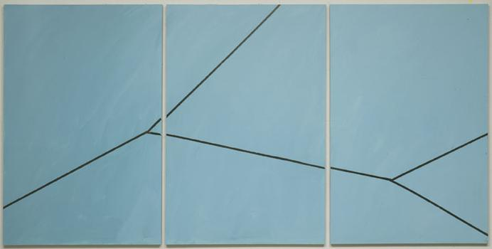 The Lehmann Maupin Gallery in Chelsea has gathered a number of significant minimalist and abstract works in the group show 'The Parallax View.'  Above, Mary Heilmann's 'Pacific Ocean,' from 1998.