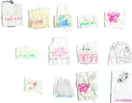 At White Box, the Social Art Collective explores the branding of drugs -- in this case, through a display of heroin stamps.