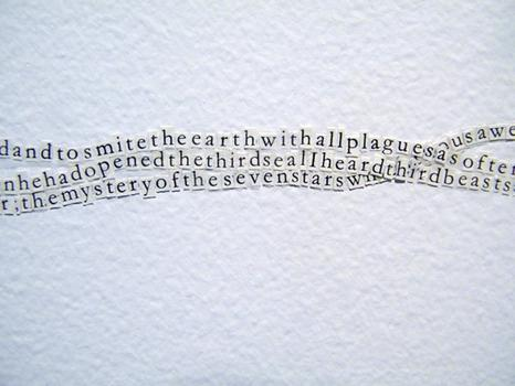 Hitchcock used a copy of the Koran to recreate the entire text of the Book of Revelation — weaving it along the gallery walls.