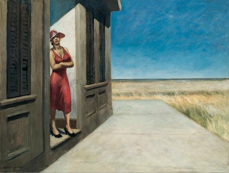 Edward Hopper conveyed solitude and stillness in his works—all of it drenched with a sense of foreboding. Above, 'South Carolina Morning,' from 1955.