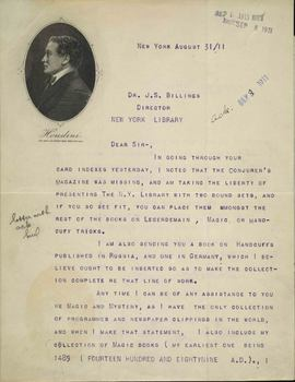 Letter from Harry Houdini to John Shaw Billings, Director of the Library, August 31, 1911.