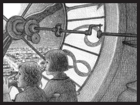 Hugo and Isabelle in the clock tower from the Invention of Hugo Cabret