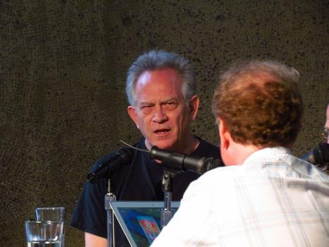Gary Panter — the creater of the cult favorite <em>Jimbo</em> series, at the Whitney's panel. Panter infuses his comics with painterly techniques.