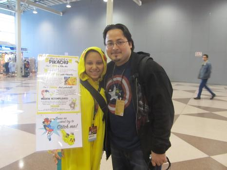 "Whitney, a volunteer from the Bronx, dressed as Pikachu from ""Pokemon."" Her friend Gus, from Yonkers, bought a VIP pass."