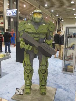 Comic Con isn't just about comics. At the Megablocks display, there was a statue of Master Chief from the video game Halo.