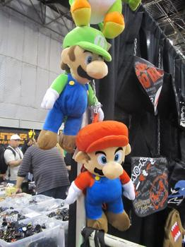 Merchandise includes plushified characters like Mario and Luigi, from Super Mario Brothers