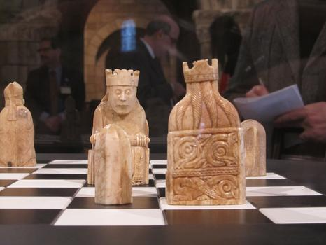 Two kings from the Lewis Chess set, poised for battle.