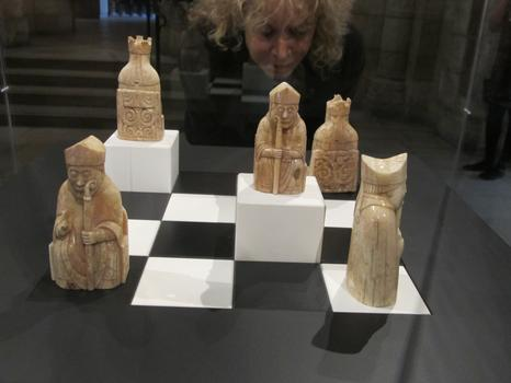Several pieces of the Lewis Chessmen on display at the Cloisters.