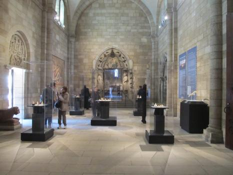 A view of the Romanesque Hall at the Cloisters, where the Lewis Chessmen are on display.