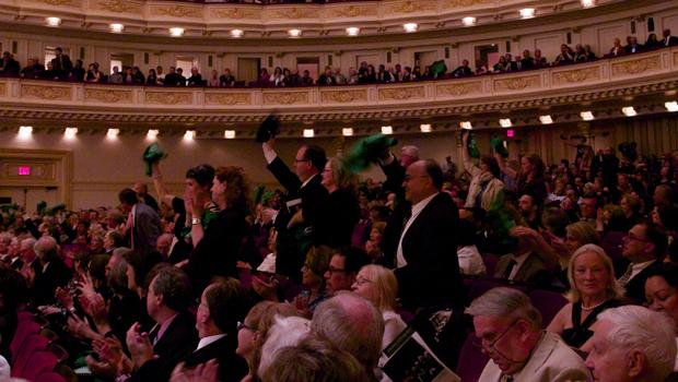 Nashville Symphony fans show their support as the orchestra takes the stage.