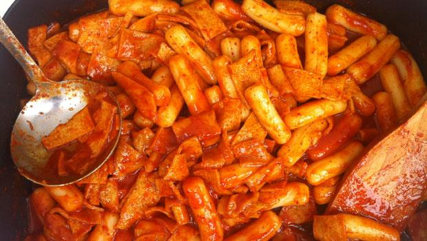 Tteokbokki (rice cake in red pepper paste) from San Soo Kap San, a Flushing restaurant.