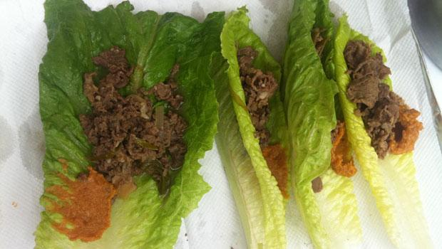 More bulgogi in lettuce wraps with red bean paste.