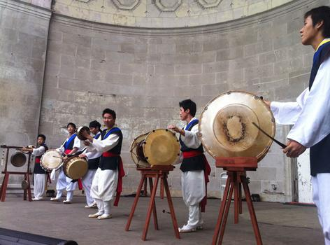 The drumming group KCON performed at the Central Park bandshell.