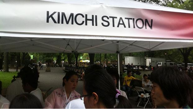 The spicy, fragrant Kimchi station was one of the most popular tents at the festival.