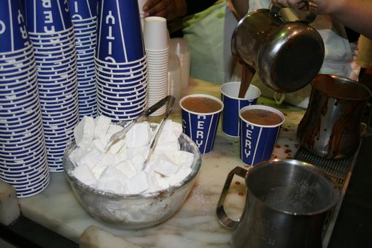 Homemade marshmallows accompany the hot chocolate