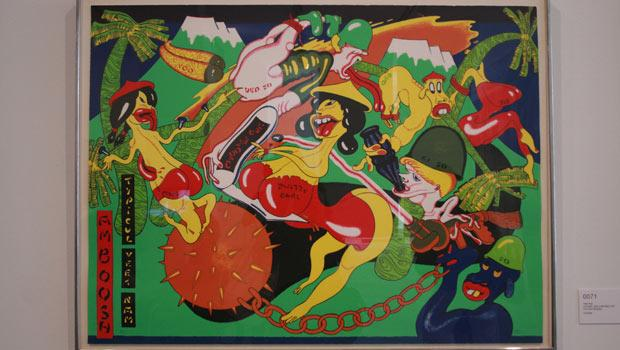 "One such piece that was removed is Peter Saul's 1975 ""Amboosh: Typicul Veet Nam."""