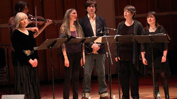 Mountain Goats' John Darnielle with the vocal quartet Anonymous 4 as part of the Ecstatic Music Festival at the Merkin Concert Hall.