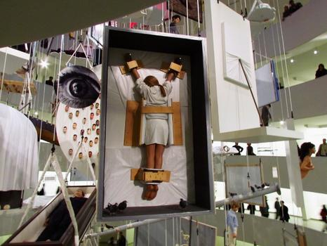 Another one of Cattelan's intersection between the worlds of fine art and Catholicism: a figures as a crucifixion inside an art shipping crate, also from 2007.