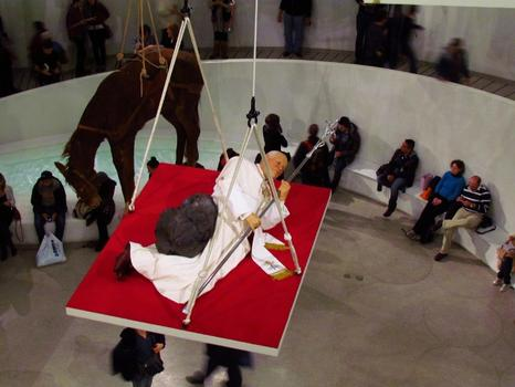 Even profaner: Cattelan's sculpture of Pope John Paul getting hit by a meteor. The sculpture is titled 'La Nona Ora,' and was made in 1999.