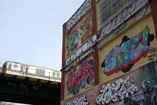 5Pointz, a grafitti landmark, is located near the No. 7 subway train in Long Island City, Queens.
