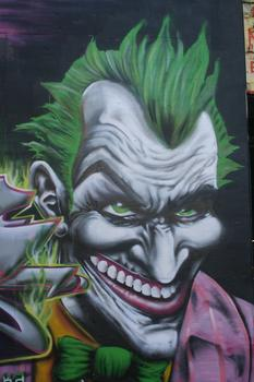 Meres, the curator of 5Pointz, spray painted the Joker from Batman.