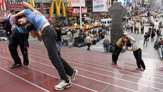 Shen Wei Dance Arts dancers on the Duffy Square steps