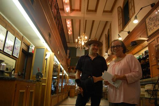 Ida O'Toole, owner of J.J. Hat Center, with one of her salesmen, Kevin Gerber