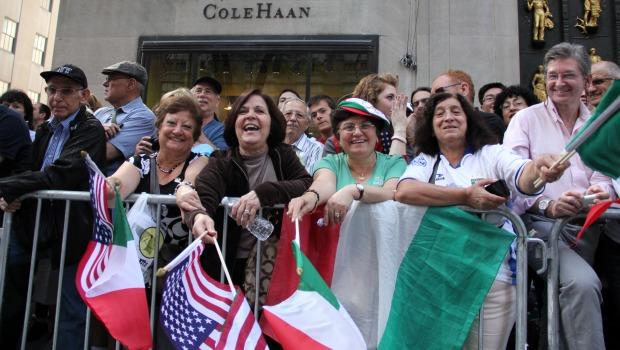 Parade-goers showed pride for both Italy and the United States along Fifth Avenue on Monday for the Columbus Day parade.